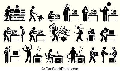集合, 固定, 设置, 风俗, pc, 建造, computer., 新, 修理, 人