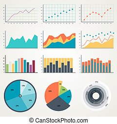 集合, 圖表, 圖表, 圖, 顏色,  infographics, 矢量, 說明, 元素