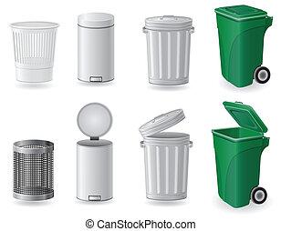 集合, 圖象, 垃圾箱, 插圖, 矢量, 罐頭, 垃圾