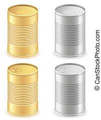 集合, 圖象, 金屬, 插圖, 錫, 矢量, 罐頭