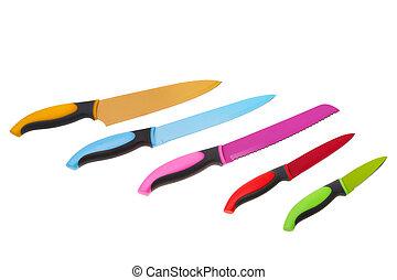 集合, 多种顏色, 背景。, 樂趣, 白色, 廚房, knives.