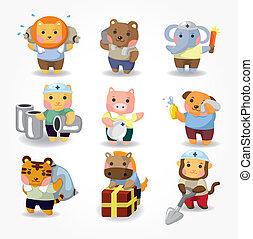 集合, 工人, 卡通, 動物, 圖象