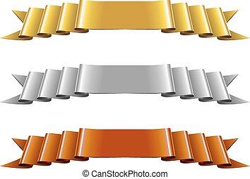 集合, 帶子, 銀, 青銅, 金