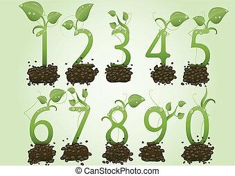 集合, 形式, 綠色, 插圖, 矢量, 數字, 地球, 新芽