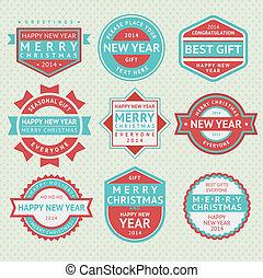 集合, 徽章, 為, 圣誕節卡片