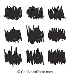 集合, 手, 畫, 數字, 氈制粗頭筆, scrawl.