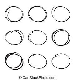 集合, 手, 畫, 橢圓形, 氈制粗頭筆, circles.