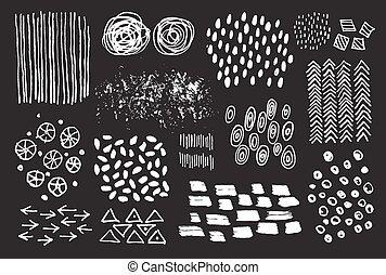 集合, 手, 矢量, 墨水, drawin, textures.