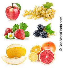 集合, 新鮮的水果, 由于, 綠葉