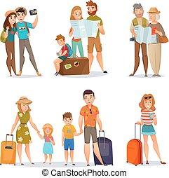 集合, 旅行, 人們