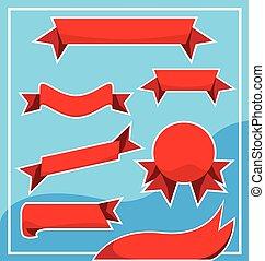 集合, 旗幟, 紅的緞帶