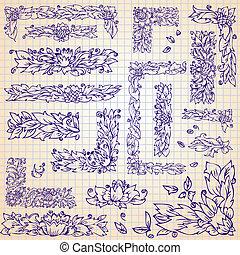 集合, 框架, 葉子, 心不在焉地亂寫亂畫