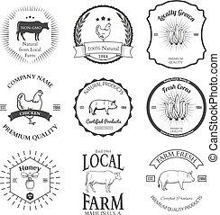 集合, 標簽, 矢量, 設計, 農業, 元素