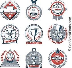 集合, 標籤, 運動, 獎品, 鮮艷