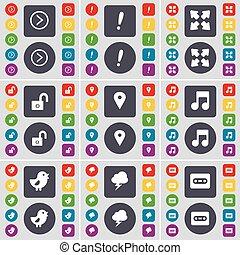 集合, 檢查站, 閃電, 你, design., 驚呼, 套間, 按鈕, 卡式磁帶, 筆記, 權利, 鳥, 充分, 符號。, 鎖, 屏幕, 圖象, 上色, 馬克, 大, 矢量, 箭