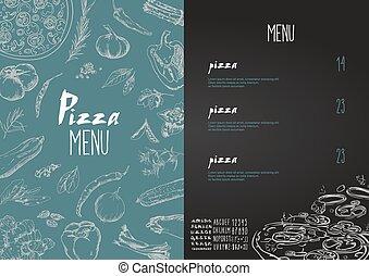 集合, 比薩餅, 盤, 菜單, 矢量, 名字, 比薩餅
