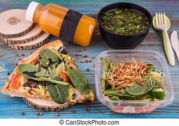 集合, 沙拉, 蘑菇, 番茄, 蘑菇, fast., 湯, 蔬菜, 部分, 比薩餅