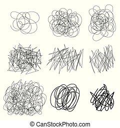集合, 混亂狀態, 摘要, clew, 形狀。, 廣場, sketch., 圈子, 心不在焉地亂寫亂畫, 被隔离, 背景。, 黑色, 橢圓, 畫, 白色, drawing., 線, 結, 線, 雜文, 環繞, 混亂, 線, 矢量, 處於混亂狀態