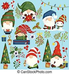 集合, 漂亮, 行動, 矢量, 地精, 位置, 各種各樣, 季節, 聖誕節