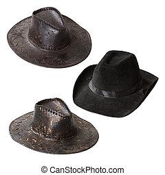 集合, 牛仔帽, 被隔离, 背景, 白色