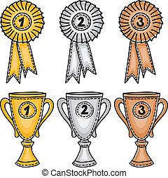 集合, 獎品, 銀, 青銅, 金