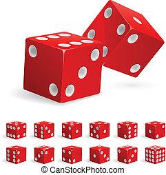 集合, 現實, 紅色, 骰子