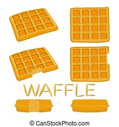 集合, 甜, 插圖, 矢量, 各種各樣, 標識語, waffles., 圖象