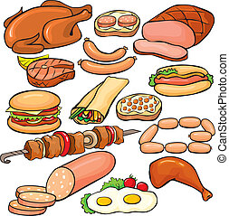 集合, 產品, 肉, 圖象