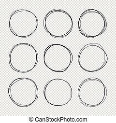 集合, 畫, 心不在焉地亂寫亂畫, 戒指, 被隔离, 手, 矢量, sketched, circles., 雜文