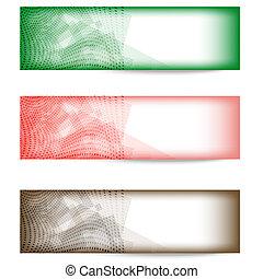 集合, ......的, 三, 鮮艷, 摘要, 旗幟