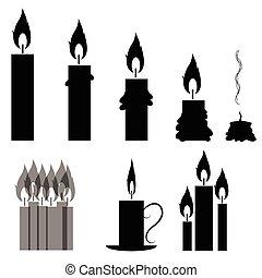 集合, ......的, 不同, 燃燒, retro, 蜡燭