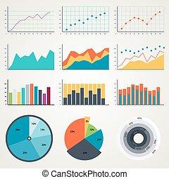 集合, ......的, 元素, 為, infographics, 圖表, 圖, diagrams., 在, color., 矢量, 說明