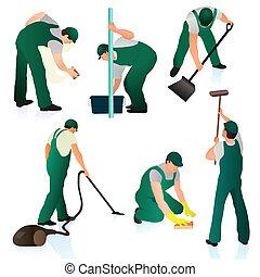 集合, ......的, 六, 專業人員, 清洁器, 在