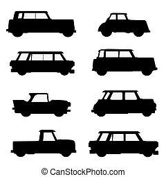 集合, ......的, 古典, cars.