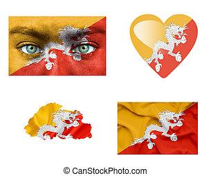 集合, ......的, 各種各樣, 不丹, 旗