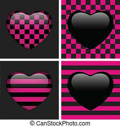 集合, ......的, 四, 有光澤, emo, hearts., 粉紅色, 以及, 黑色, 國際象棋, 以及, 條紋