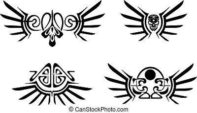 集合, ......的, 四, 翅膀, 部落, tattoos.
