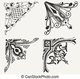 集合, ......的, 四, hogh, 裝飾華麗, corners., 元素, ......的, design.