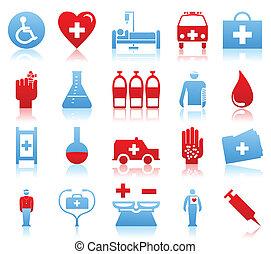 集合, ......的, 圖象, 上, a, 主題, medicine., a, 矢量, 插圖