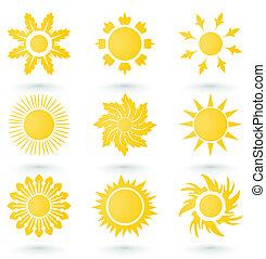 集合, ......的, 圖象, 上, a, 太陽, theme., a, 矢量, 插圖