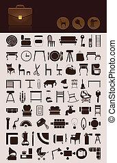 集合, ......的, 圖象, 上, a, 房子, theme., a, 矢量, 插圖