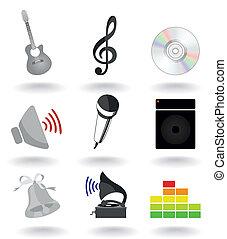 集合, ......的, 圖象, 上, a, 音樂, theme., a, 矢量, 插圖