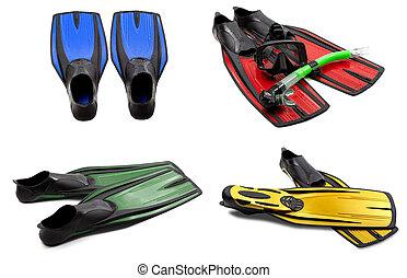 集合, ......的, 多种顏色, 游泳 飛翅, 面罩, 水下通气管, 為, 跳水, 由于, 水, drops., 被隔离, 在懷特上, 背景。