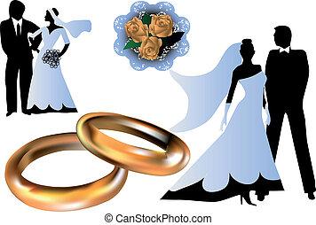 集合, ......的, 婚禮, 黑色半面畫像