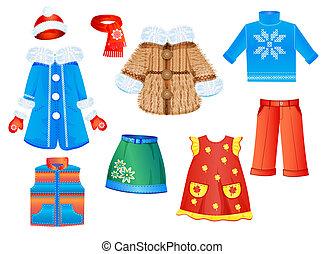 集合, ......的, 季節性, 衣服, 為, 女孩