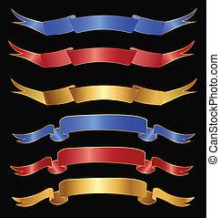 集合, ......的, 帶子, 在, 金, 紅色, 以及藍色