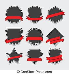 集合, ......的, 徽章, 以及, 標籤, 矢量