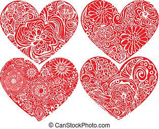 集合, ......的, 心, 形狀, 由于, 手, 畫, 植物, ornaments., 愛, 概念, forvalentines, 天, 或者, 婚禮, design.