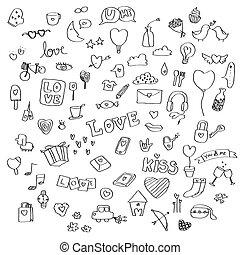 集合, ......的, 愛, doodles