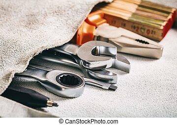 集合, ......的, 手工具, 在, a, 口袋
